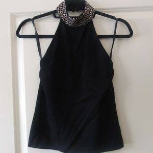 St John Black Elegant Beaded Halter Top
